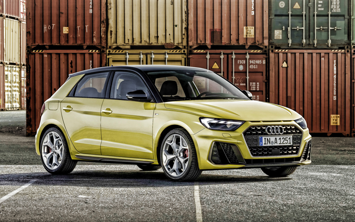 Download Wallpapers Audi A1 2019 Front View New Yellow A1
