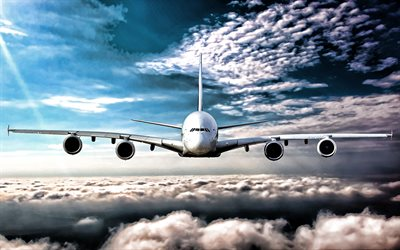 Flying A380, blue sky, clouds, Airbus A380, airliner, passenger planes, Airbus, A380, HDR