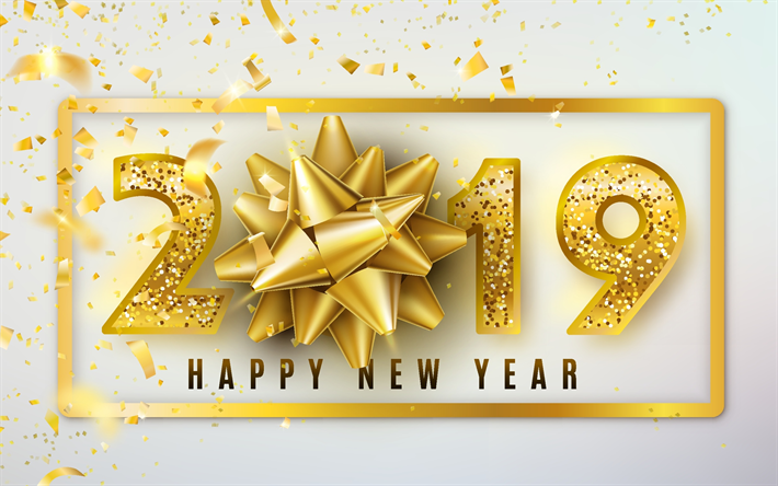 Download wallpapers 2019 gold bow, Happy New Year 2019, gray