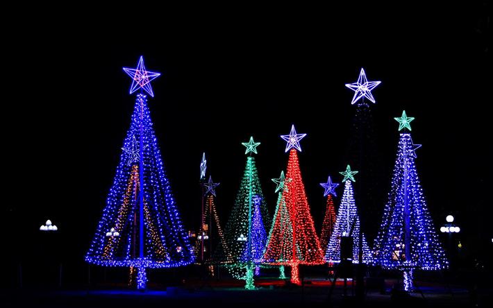 thumb2 merry christmas neon christmas trees night street winter
