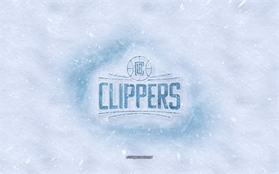 Los Angeles Clippers logotipo, Americano de basquete clube, inverno conceitos, NBA, Los Angeles Clippers gelo logotipo, neve textura, Los Angeles, Califórnia, EUA, neve de fundo, Los Angeles Clippers, basquete