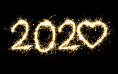 2020 fireworks background, fireworks on black background, 2020 concepts, Happy New Year 2020, night sky