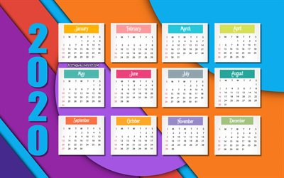 2020 calendar, violet pink blue background, material design, 2020 concepts, Happy New Year 2020, 2020 all months background