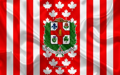 Coat of arms of Montreal, Canadian flag, silk texture, Montreal, Canada, Seal of Montreal, Canadian national symbols