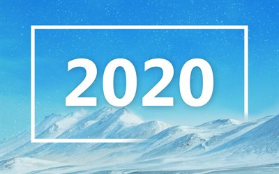 Happy New Year 2020, winter landscape, blue sky, 2020 concepts, 2020 New Year, mountain landscape