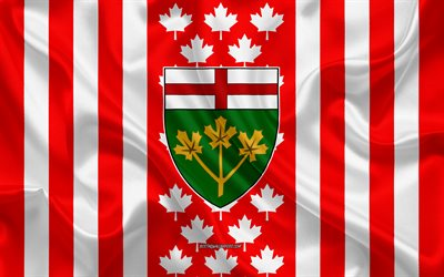 Coat of arms of Ontario, Canadian flag, silk texture, Ontario, Canada, Seal of Ontario, Canadian national symbols