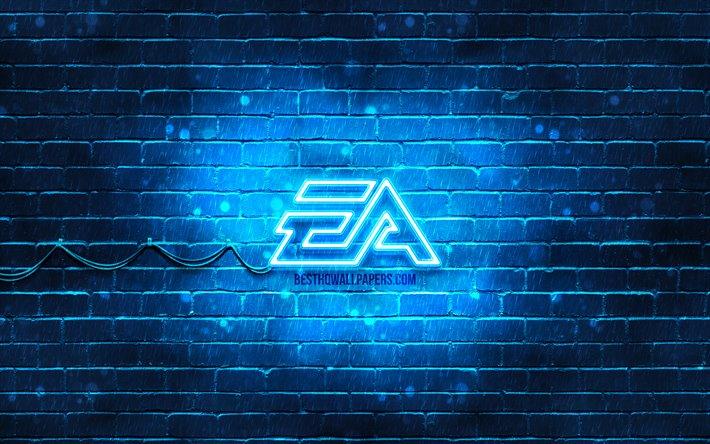 Download wallpapers EA Games blue logo, 4k, blue brickwall ...