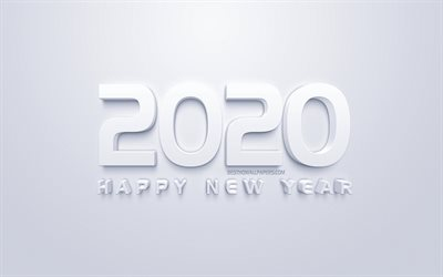 Happy New Year 2020, white 3d art, 2020 concepts, white 2020 background, 2020 New Year, creative 3d art