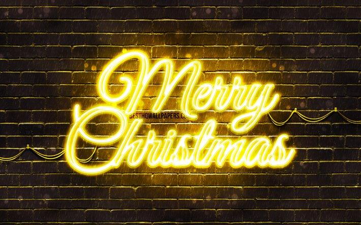 thumb2 yellow neon merry christmas 4k yellow brickwall happy new years concept yellow merry christmas