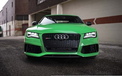 Audi RS7 Sportback, supercars, green rs7, Audi