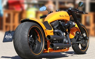 Harley-Davidson, Lamborghini Edition, superbikes, custom, orange motorcycle