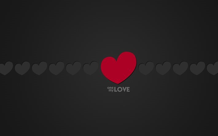 One my Love, heart, minimal, gray background