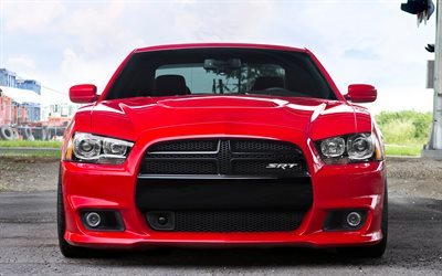 Dodge Charger SRT, front view, 2017 cars, red charger, supecars, Dodge