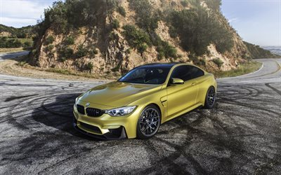 BMW M4, mountain road, F82, golden m4, supercars, BMW