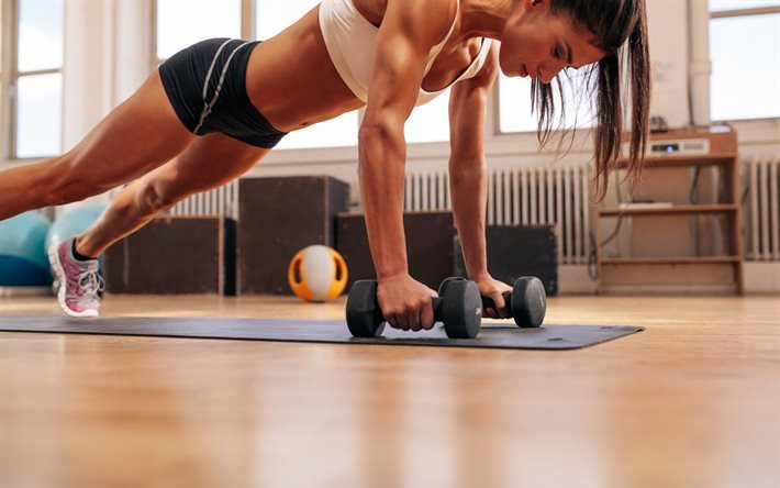 Download wallpapers workout, fitness, dumbbells, perfect body