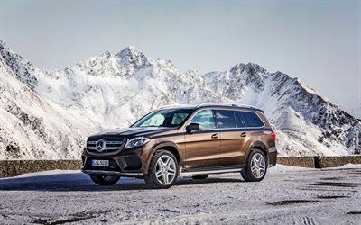 Mercedes-Benz GLS-Class, 2017, AMG, X166, brown GLS, luxury SUV, Mercedes