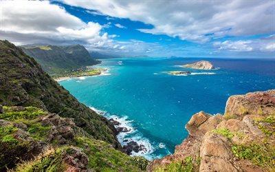 Télécharger fonds d'écran Hawaii, la côte, l'océan, l'été, les montagnes, sur une île tropicale ...