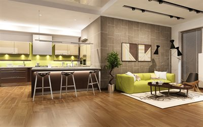 interior living room, kitchen, modern design, green furniture, stylish design