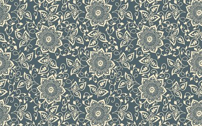 retro texture, flower seamless pattern, floral background, flowers