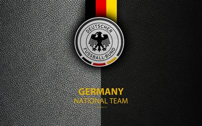 Germany national football team, 4k, leather texture, emblem, logo, football, Germany, Europe