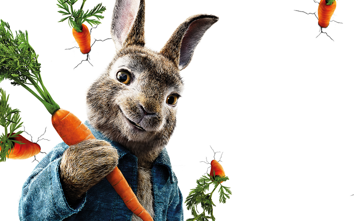 Download wallpapers 4k, Peter Rabbit, 3d-animation, 2018