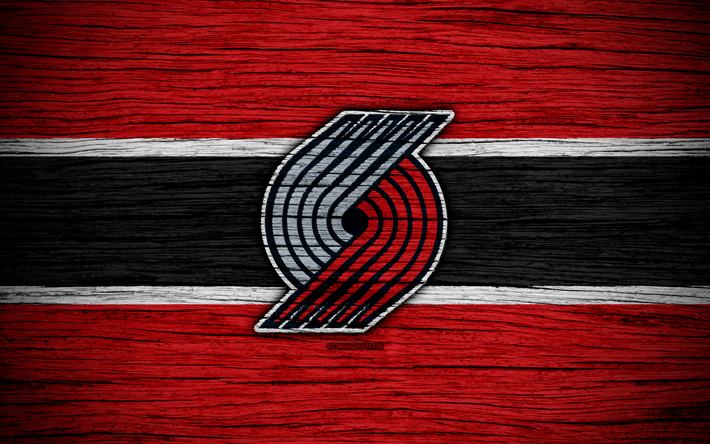 Download Wallpapers 4k Portland Trail Blazers Nba Wooden Texture
