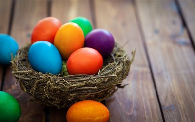 Easter eggs, colorful painted eggs, nest, Easter, decoration