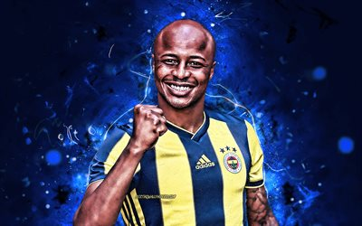 Andre Ayew, joy, Fenerbahce FC, close-up, ghanaian footballers, soccer, Andre Morgan Rami Ayew, neon lights, abstract art, Turkish Super Lig, Dede Ayew, Turkey, Fenerbahce SK