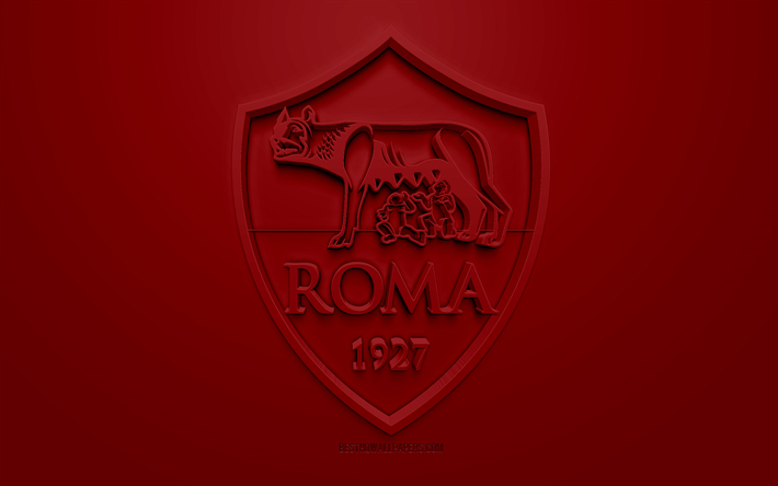 Download Wallpapers As Roma Creative 3d Logo Red Background 3d Emblem Italian Football Club Serie A Rome Italy 3d Art Football Stylish 3d Logo For Desktop Free Pictures For Desktop Free
