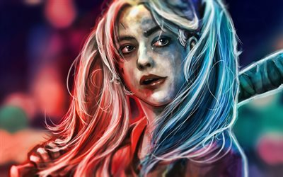 Harley Quinn, close-up, artwork, supervillain, DC Comics, Harley Quinn portrait