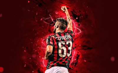 Patrick Cutrone, back view, AC Milan, soccer, Serie A, italian footballers, close-up, neon lights, Milan FC, Cutrone, forward, football, Rossoneri, Italy