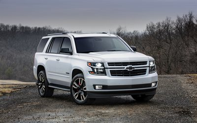 Chevrolet Tahoe, 2018, SUV, White luxury SUV, new white Tahoe, front view, American cars, evening, sunset, USA, Chevrolet