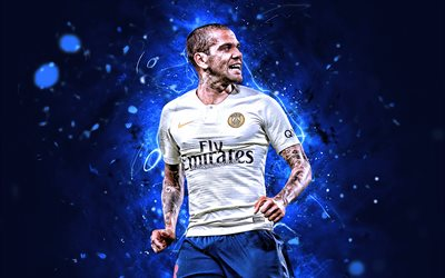 Dani Alves, white uniform, PSG, Ligue 1, goal, brazilian footballers, Paris Saint-Germain, Daniel Samuel Alves da Silva, neon lights, soccer, creative, France
