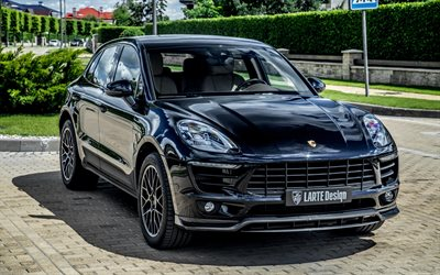 Porsche Macan, Larte Design, 2020, exterior, front view, black luxury SUV, new black Macan, German cars, Porsche