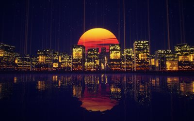 4k, abstract cityscapes, nightscapes, artwork, creative, abstract skyline, 3D art, abstract city