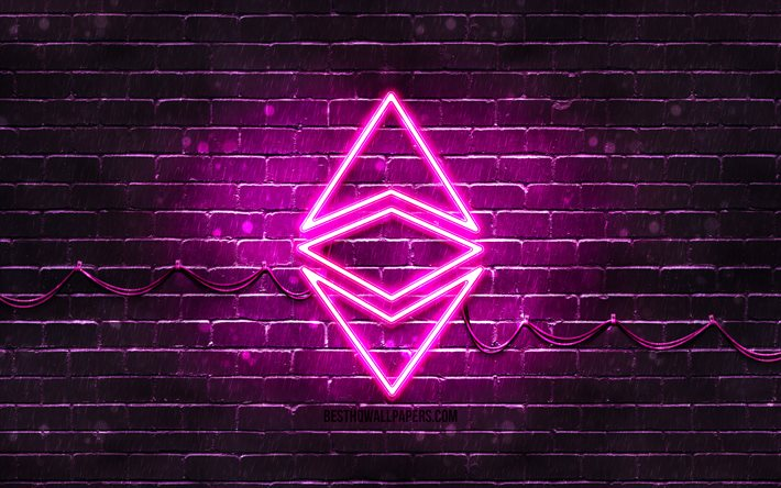 Ethereum purple logo, 4k, purple brickwall, Ethereum logo, cryptocurrency, Ethereum neon logo, cryptocurrency signs, Ethereum