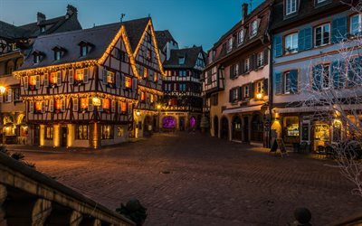 Colmar, evening, old buildings, cityscape, Alsace, France