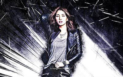 4k, Suzy, grunge art, K-pop, south korean singer, Miss A, black abstract rays, Bae Su-ji, South Korean celebrity, asian woman, beauty, Suzy 4K