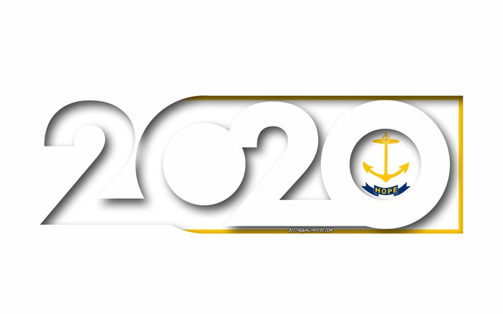 Rhode Island 2020, US state, Flag of Rhode Island, white background, Rhode Island, 3d art, 2020 concepts, Rhode Island flag, flags of american states, 2020 New Year, 2020 Rhode Island flag