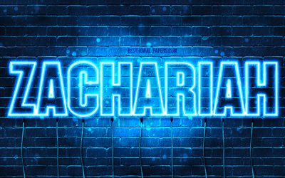 Zachariah, 4k, wallpapers with names, horizontal text, Zachariah name, blue neon lights, picture with Zachariah name