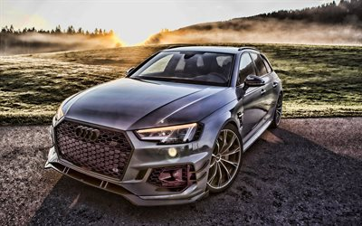 Audi RS4, ABT Sportsline, front view, hdr, gray station wagon, tuning RS4, new gray RS4, german cars, RS4 ABT, Audi