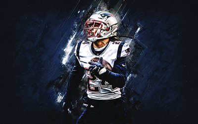 Stephon Gilmore, New England Patriots, NFL, amerikansk fotboll, porträtt, blå sten bakgrund, National Football League, USA
