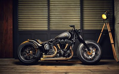 black and yellow motorcycle, bobber, custom motorcycles, tuning motorcycles