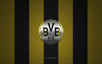 Borussia Dortmund logo, German football club, BVB logo, metal emblem, yellow-black metal mesh background, Borussia Dortmund, Bundesliga, Dortmund, Germany, football
