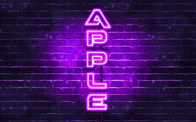 4K, Apple violette logo, texte vertical, violet brickwall, Apple néon logo, création, logo Apple, œuvres d'art, Apple