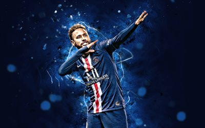 Neymar, personal celebration, brazilian footballers, 2020, PSG, goal, Ligue 1, blue neon lights, Neymar da Silva Santos Junior, soccer, football, Paris Saint-Germain, Neymar JR