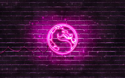 Mortal Kombat purple logo, 4k, purple brickwall, Mortal Kombat logo, 2020 games, Mortal Kombat neon logo, Mortal Kombat
