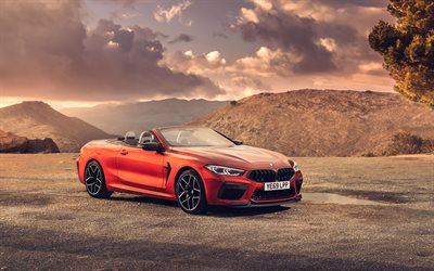 BMW M8 Cabrio, 4k, offroad, 2020 cars, F91, UK-spec, 2020 BMW M8, german cars, BMW