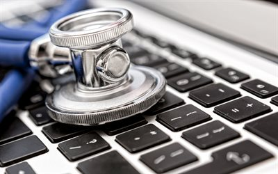 Stethoscope on keyboard, keyboard, laptop, black keys, computer repair, Stethoscope, computer help concepts