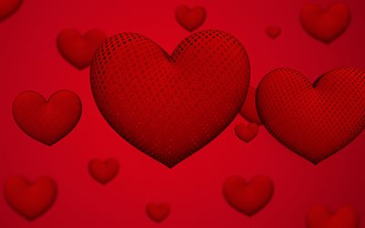 Red 3d hearts, romance concepts, red background with hearts, 3d hearts, blur, love background
